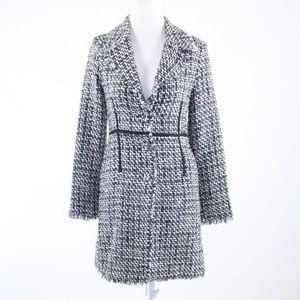 True Meaning white black plaid long sleeve coat 2